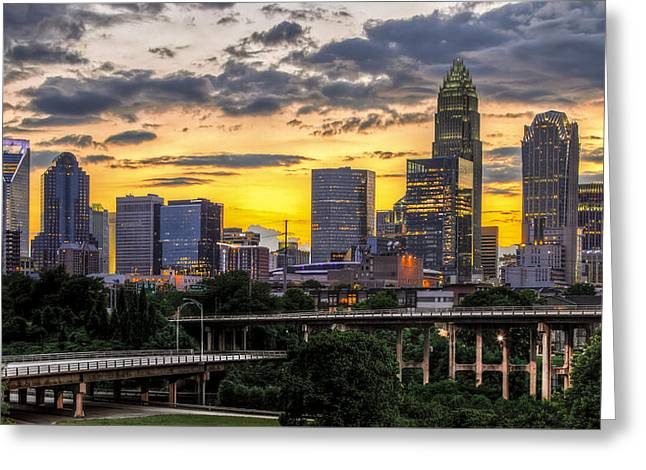 Carolina Photographs Greeting Cards - Charlotte Dusk Greeting Card by Chris Austin