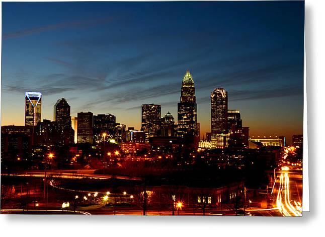 Charlotte Dusk Lights Greeting Card by Paul Scolieri