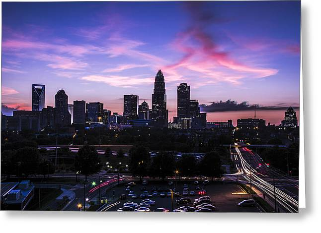 Charlotte Greeting Cards - Charlotte Dusk Time Lapse Greeting Card by Paul Scolieri