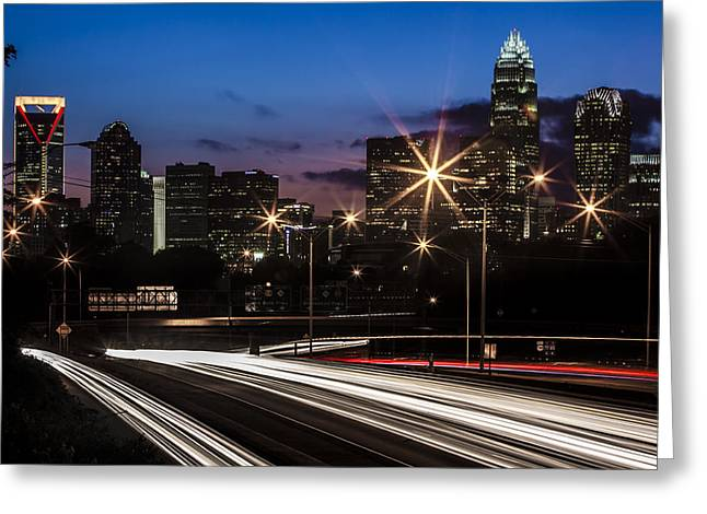Downtown Charlotte Nc Greeting Cards - Charlotte Flow Greeting Card by Chris Austin