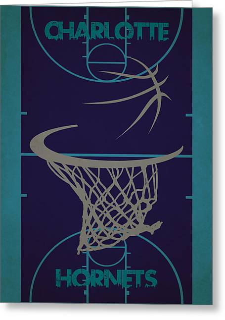 Charlotte Greeting Cards - Charlotte Hornets Court Greeting Card by Joe Hamilton