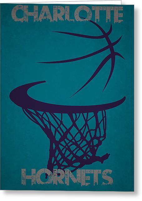Charlotte Greeting Cards - Charlotte Hornets Hoop Greeting Card by Joe Hamilton