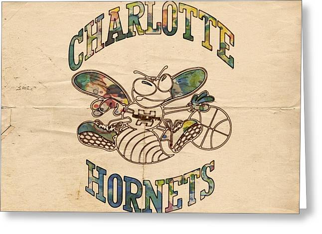 Charlotte Posters Greeting Cards - Charlotte Hornets Poster Art Greeting Card by Florian Rodarte
