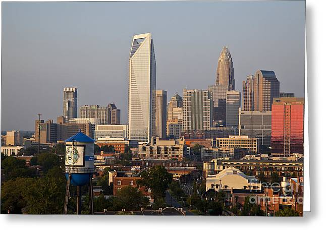 Uptown Rooftop Greeting Cards - Charlotte in the Late Afternoon Greeting Card by Jill Lang