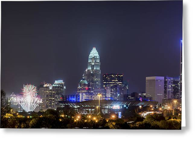 Charlotte Photographs Greeting Cards - Charlotte / Knights Fireworks Greeting Card by Brian Young