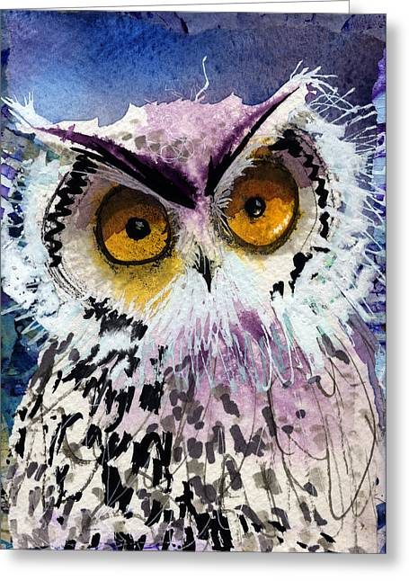 Lovely Owl Greeting Cards - Charlotte Greeting Card by Laurel Bahe