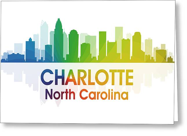 Charlotte Mixed Media Greeting Cards - Charlotte NC 1 Squared Greeting Card by Angelina Vick