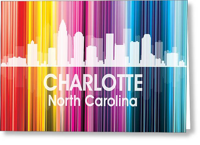 Charlotte Uptown Greeting Cards - Charlotte NC 2 Squared Greeting Card by Angelina Vick
