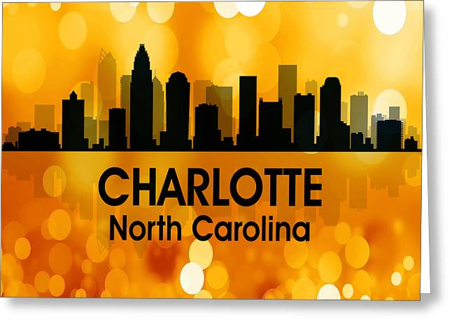 Charlotte Uptown Greeting Cards - Charlotte NC 3 Squared Greeting Card by Angelina Vick