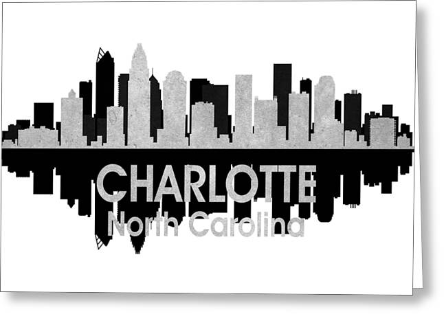 Charlotte Uptown Greeting Cards - Charlotte NC 4 Squared Greeting Card by Angelina Vick