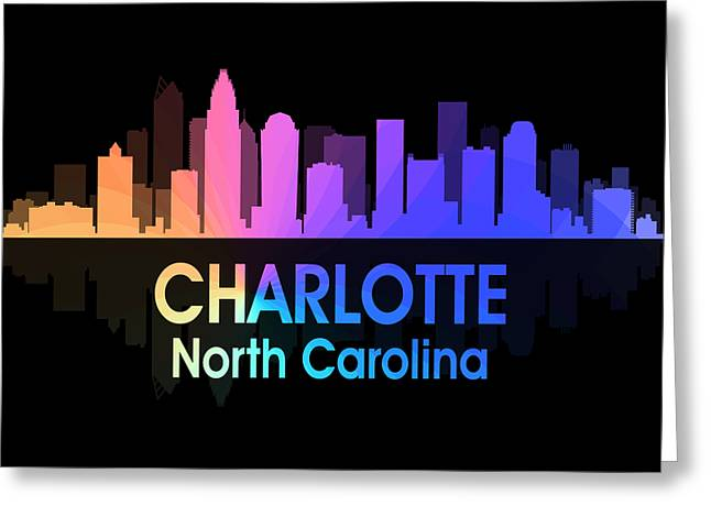 Charlotte Mixed Media Greeting Cards - Charlotte NC 5 Squared Greeting Card by Angelina Vick