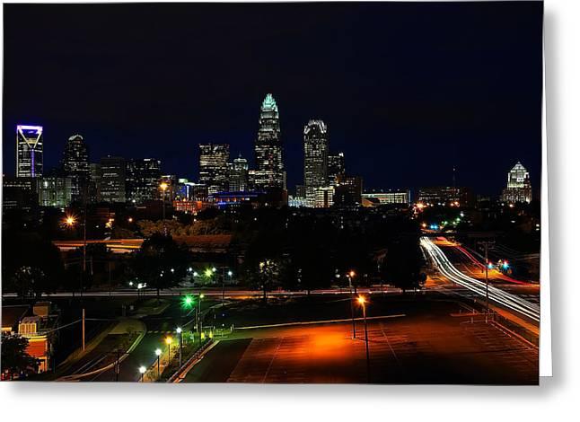 Charlotte North Carolina Greeting Cards - Charlotte NC at night Greeting Card by Chris Flees