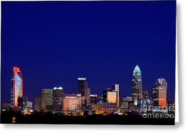 Dnc Greeting Cards - Charlotte NC skyline at night Greeting Card by Patrick Schneider