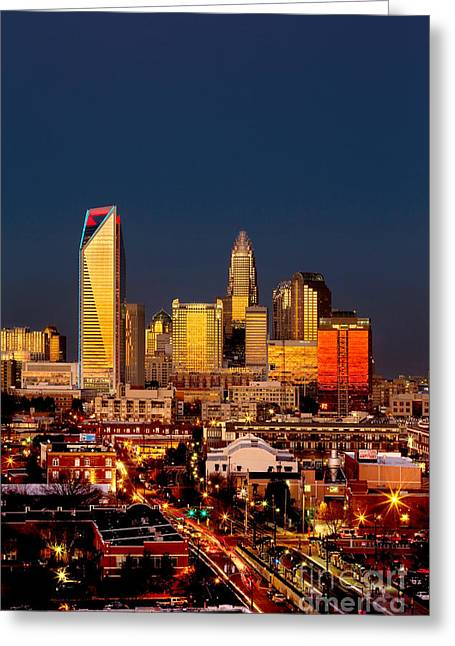 Charlotte Nc Photography Greeting Cards - Charlotte NC skyline photo with downtown Charlotte Greeting Card by Patrick Schneider