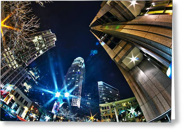 Charlotte Nc Usa - Nightlife Around Charlotte Greeting Card by Alexandr Grichenko