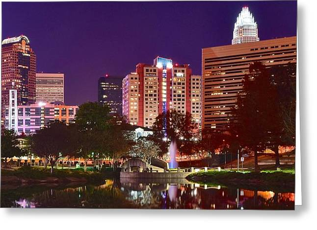Downtown Charlotte Nc Greeting Cards - Charlotte Night Panoramic  Greeting Card by Frozen in Time Fine Art Photography