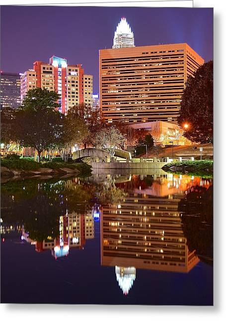 Downtown Charlotte Nc Greeting Cards - Charlotte Night Reflection Greeting Card by Frozen in Time Fine Art Photography