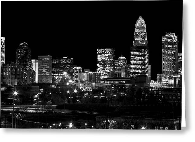 Downtown Charlotte Greeting Cards - Charlotte Night v2 Greeting Card by Chris Austin