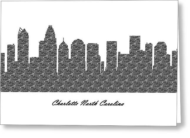 Charlotte Digital Art Greeting Cards - Charlotte North Carolina 3D BW Stone Wall Skyline Greeting Card by Gregory Murray