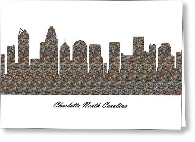 Charlotte Fine Art Greeting Cards - Charlotte North Carolina 3D Stone Wall Skyline Greeting Card by Gregory Murray