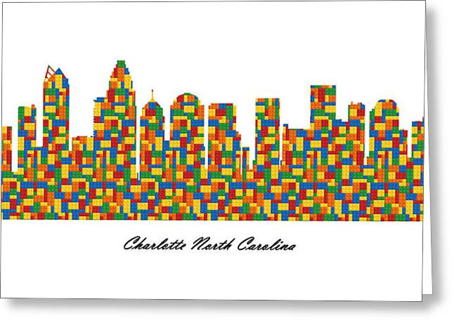 Charlotte Digital Art Greeting Cards - Charlotte North Carolina Building Blocks Skyline Greeting Card by Gregory Murray