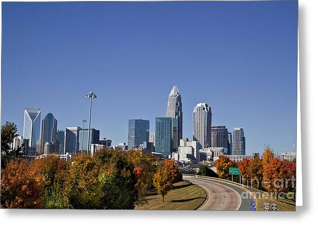 Uptown Rooftop Greeting Cards - Charlotte North Carolina Greeting Card by Jill Lang