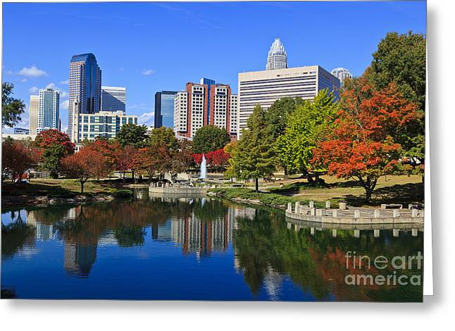 Downtown Charlotte Nc Greeting Cards - Charlotte North Carolina Marshall Park Greeting Card by Jill Lang