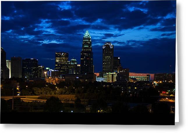 Nc Photos Greeting Cards - Charlotte North Carolina panoramic image Greeting Card by Chris Flees