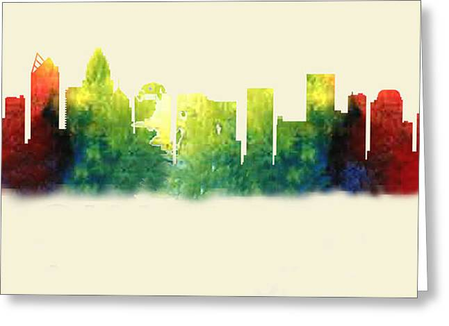 Charlotte Digital Art Greeting Cards - Charlotte North Carolina Skyline Greeting Card by Loretta Luglio