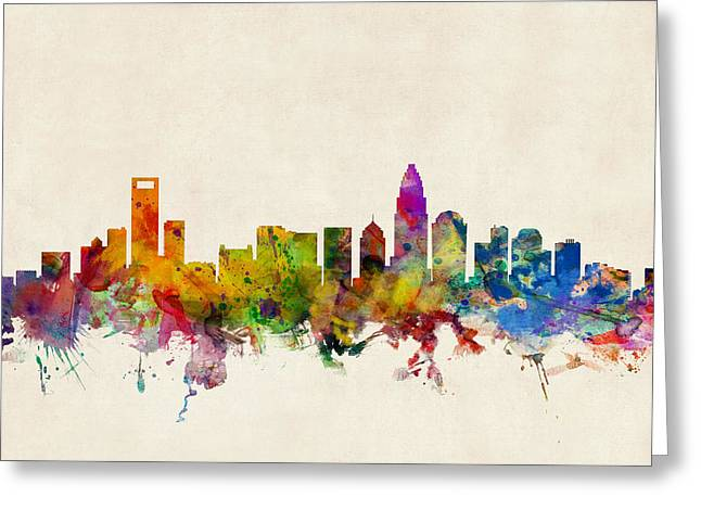 North Carolina Greeting Cards - Charlotte North Carolina Skyline Greeting Card by Michael Tompsett