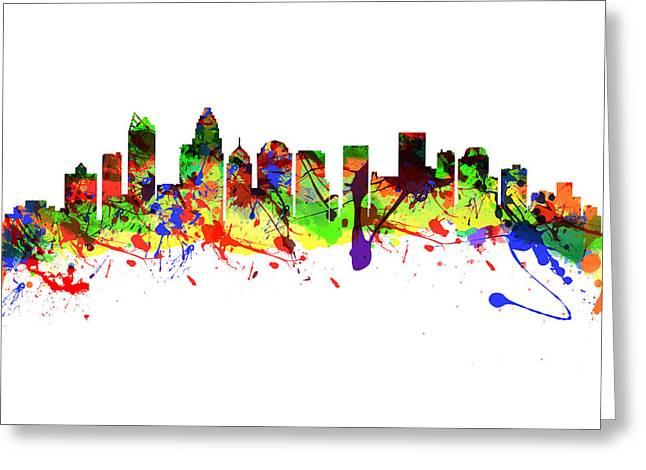 Charlotte Homes Greeting Cards - Charlotte North Carolina USA City Skyline Greeting Card by Chris Smith