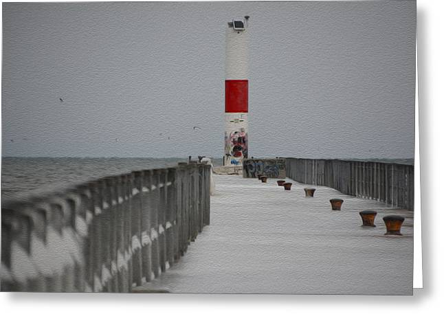 Charlotte Fine Art Greeting Cards - Charlotte NY Pier in Winter Greeting Card by Tracy Winter