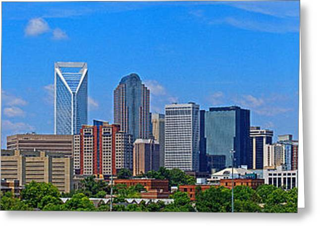 Charlotte Greeting Cards - Charlotte Panorama Greeting Card by Gene Berkenbile