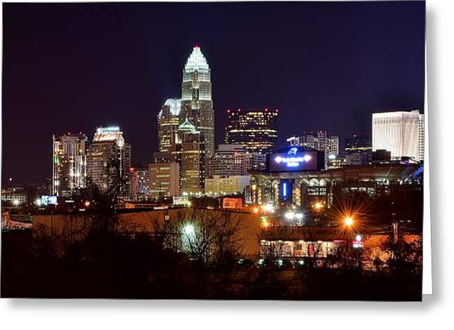 Downtown Charlotte Nc Greeting Cards - Charlotte Panoramic  Greeting Card by Frozen in Time Fine Art Photography