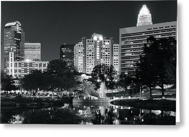 Charlotte Greeting Cards - Charlotte Panoramic in Black and White Greeting Card by Frozen in Time Fine Art Photography