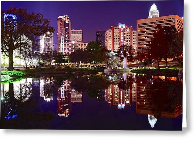 Charlotte Bobcats Greeting Cards - Charlotte Panoramic Reflection Greeting Card by Frozen in Time Fine Art Photography
