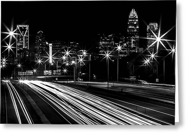 Charlotte Greeting Cards - Charlotte Flow B/W Greeting Card by Chris Austin