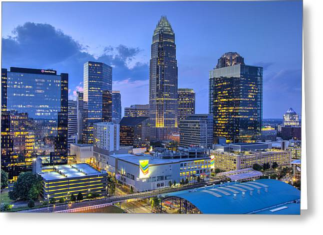 Charlotte Uptown Greeting Cards - Rooftop View Greeting Card by Chris Austin