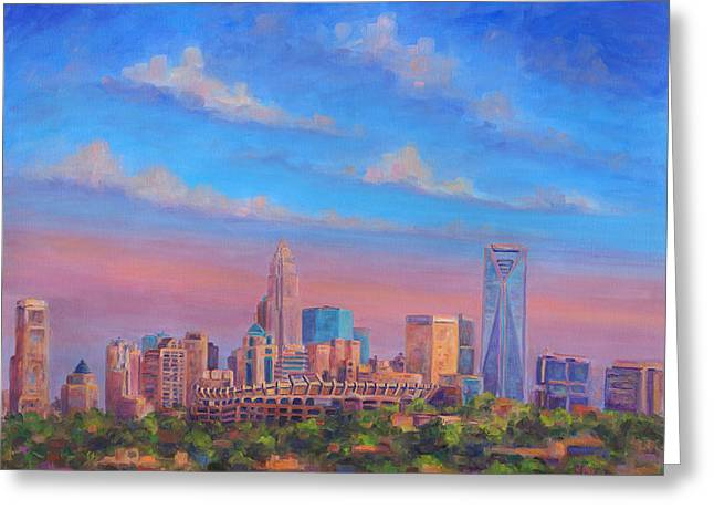 Downtown Charlotte Nc Greeting Cards - Charlotte Skies Greeting Card by Jeff Pittman