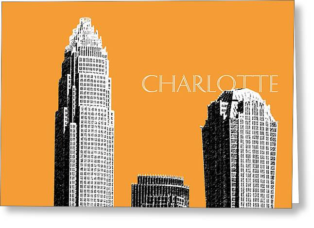Charlotte Skyline 2 - Orange Greeting Card by DB Artist