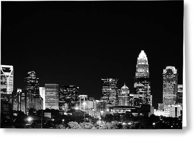 Charlotte Skyline At Night Black And White Greeting Card by Fred Koehl