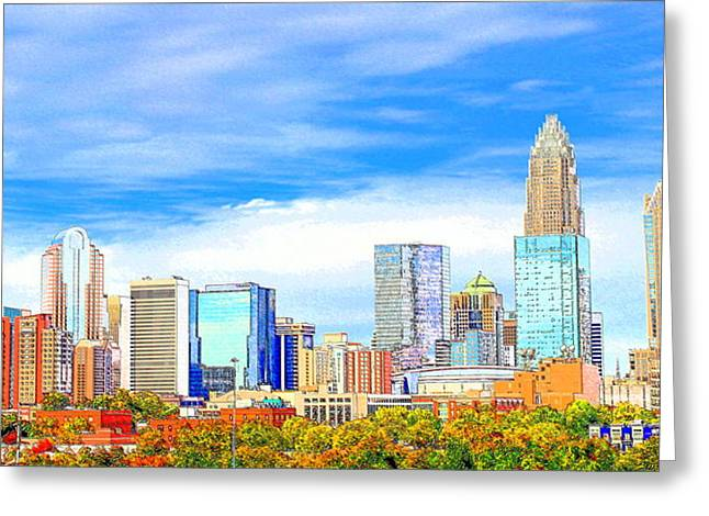 Charlotte Digital Art Greeting Cards - Charlotte Skyline Greeting Card by Fred Koehl