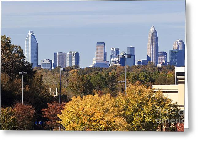 Uptown Rooftop Greeting Cards - Charlotte Skyline from Southpark Greeting Card by Jill Lang