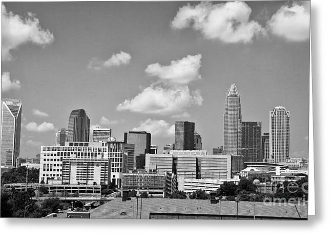 Uptown Rooftop Greeting Cards - Charlotte Skyline in Black and White Greeting Card by Jill Lang