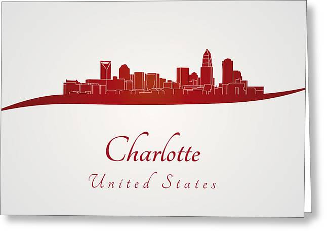 Charlotte Greeting Cards - Charlotte skyline in red Greeting Card by Pablo Romero