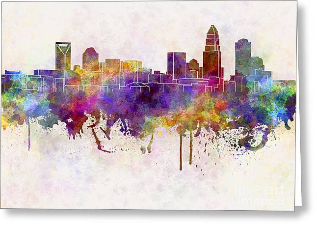 Charlotte Skyline In Watercolor Background Greeting Card by Pablo Romero