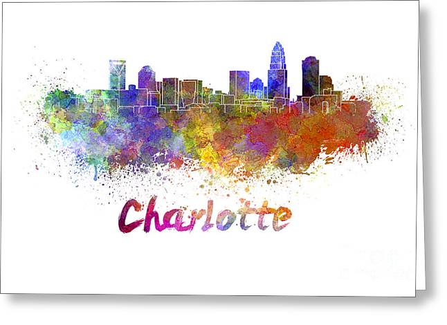 Charlotte Paintings Greeting Cards - Charlotte skyline in watercolor Greeting Card by Pablo Romero