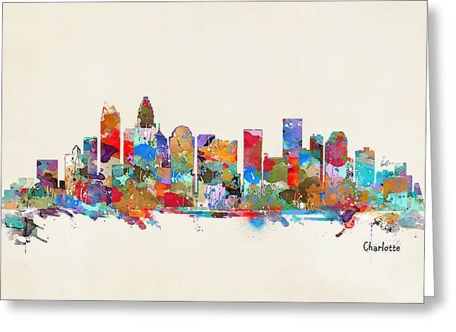 Charlotte Paintings Greeting Cards - Charlotte Skyline North Carolina Greeting Card by Bri Buckley