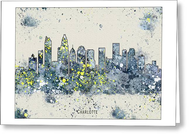 Charlotte Nc Prints Greeting Cards - Charlotte Skyline Greeting Card by WaterColorMaps Chris and Mary Ann