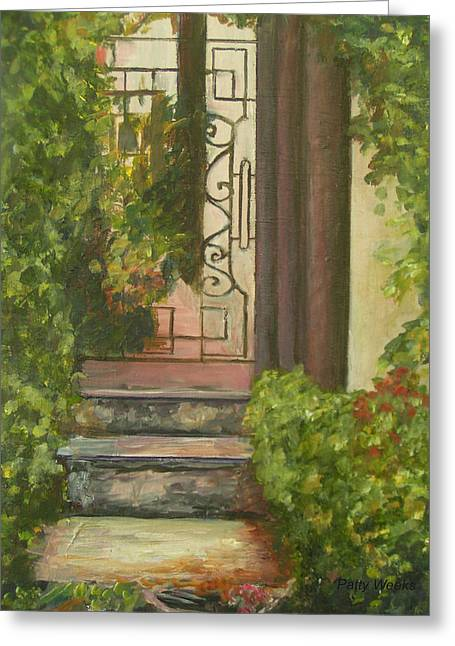 Charlotte Paintings Greeting Cards - CHARLOTTE ST in St Augustine FL Greeting Card by Patty Weeks